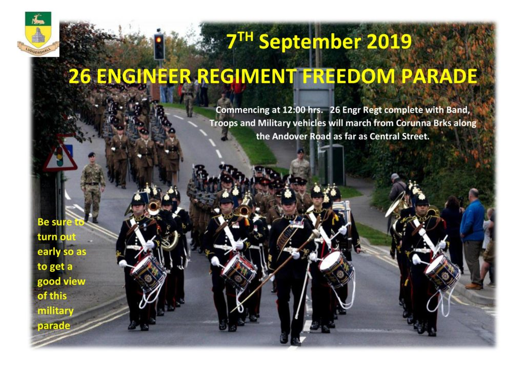 26 Engineer Regiment Freedom Parade 7th September 2019.  Commencing at 12 noon, the parade is complete with Band, Troops and Military Vehicles.