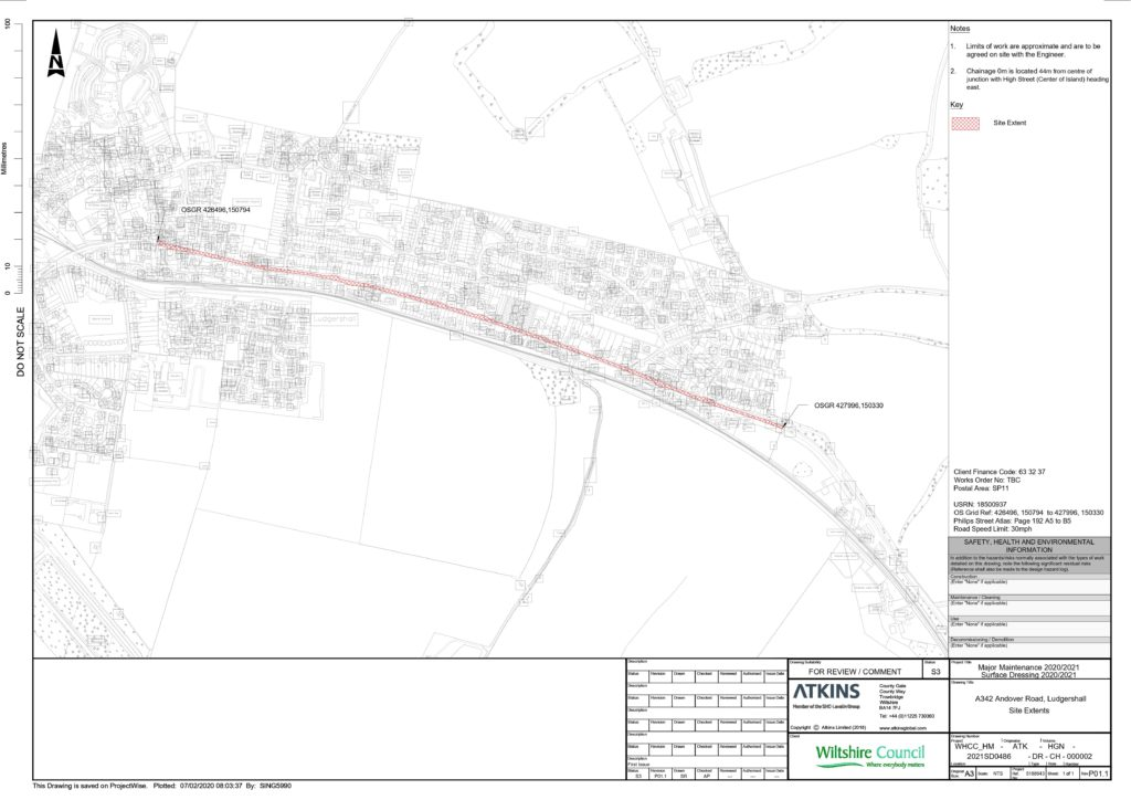 Map of roadworks on Andover Road