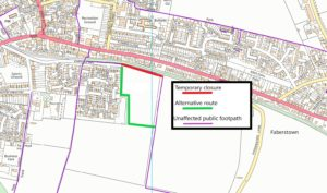 map of footpath closure and diversion