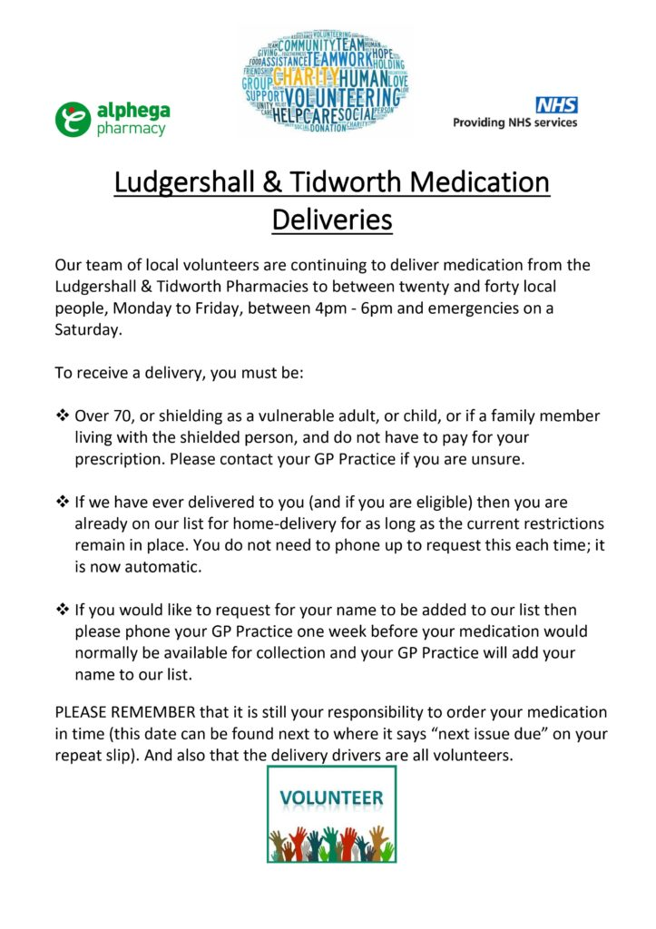 details of medication deliveries in Ludgershall and Tidworth